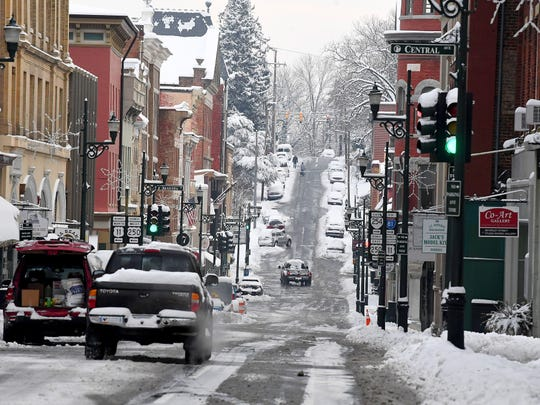 View looking down Beverley Street following a snowstorm in downtown Staunton on Monday, Dec. 10, 2018.