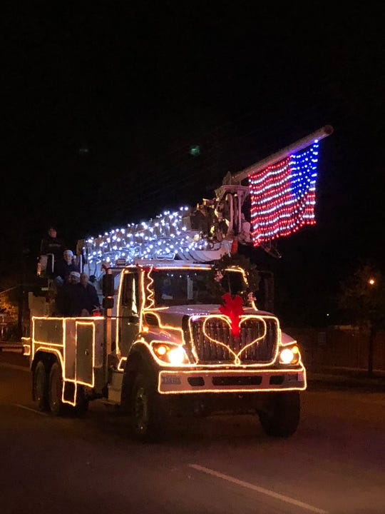 One of the trucks decked out with lights during the Mesquite Parade of Lights Food Drive on Dec. 5, 2018.