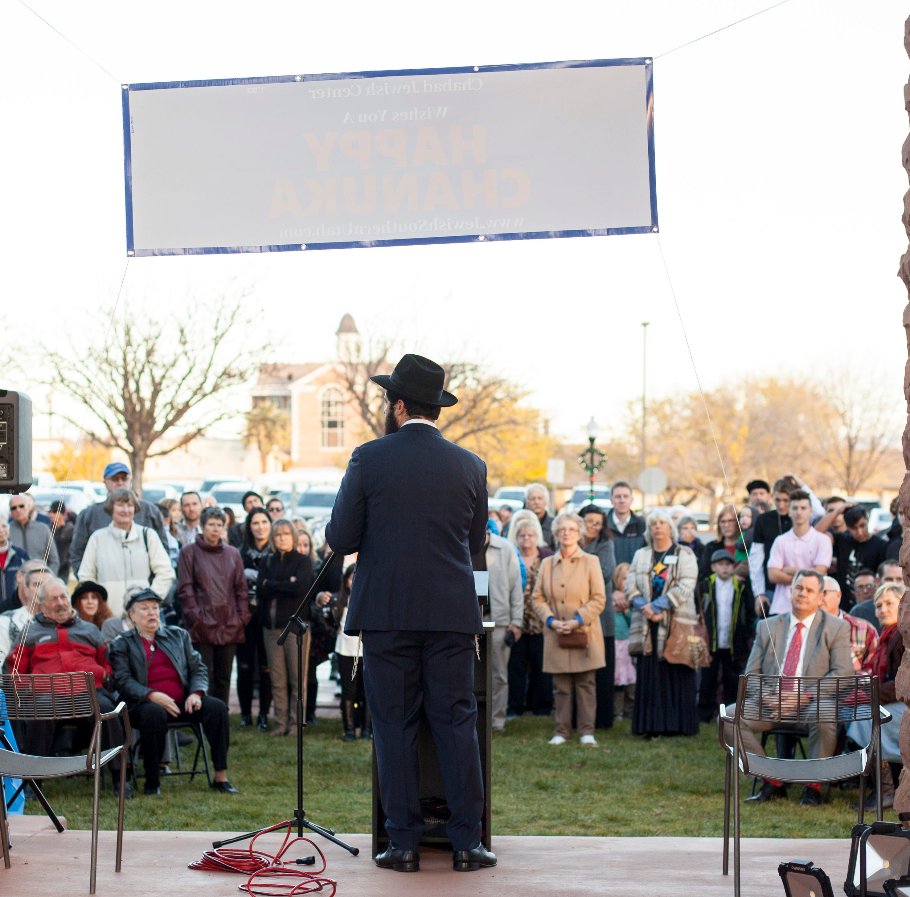 St. George community celebrates Hanukkah at town square