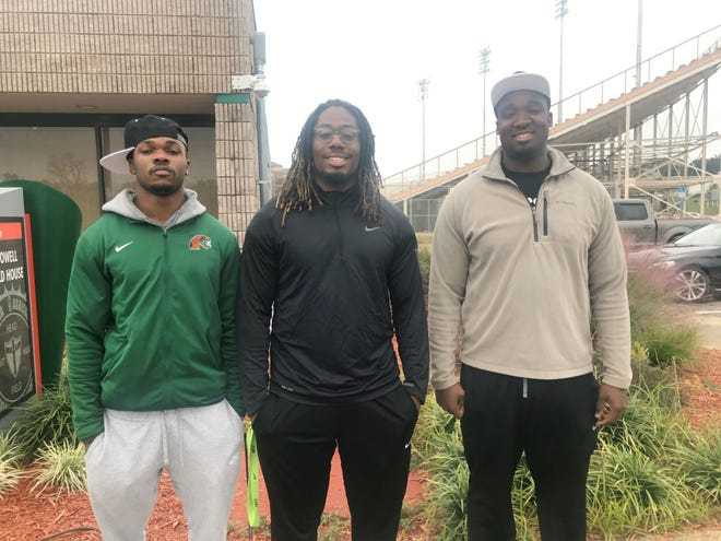FAMU defensive back Orlando McKinley, linebacker Jibreel Hazly and offensive lineman Loubens Polinice displayed their skills at the FCS National Bowl in Daytona Beach. All three performed well in front of pro football scouts.