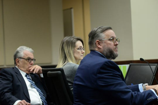 Denise Williams listens with her attorneys Phil Padovano, left and Ethan Way during jury selection for her trial on charges of first degree murder, conspiracy to commit murder and accessory after the fact of her first husband Mike Williams at the Leon County Courthouse Monday, Dec. 10, 2018.