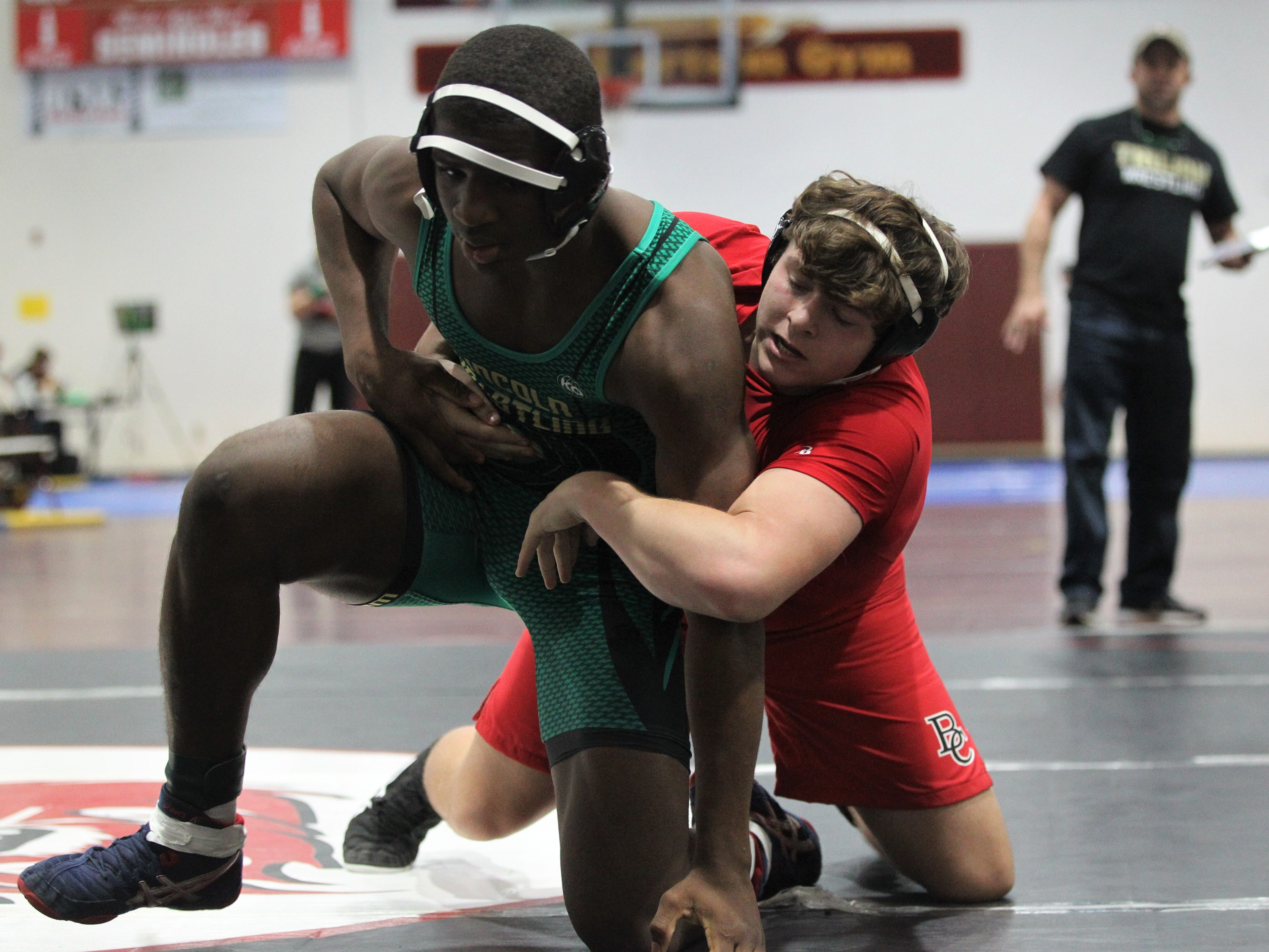 Lincoln's Tony Davis wrestles at the Cam Brown Seminole Classic wrestling tournament at Florida High on Dec. 7-8, 2018.