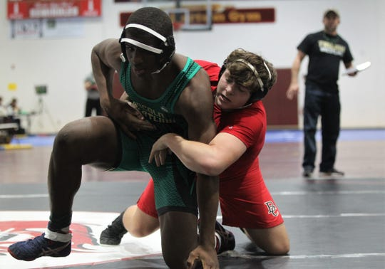 Lincoln's Tony Davis wrestles at the Cam Brown Seminole Classic wrestling tournament at Florida High on Dec. 7-8, 2018.