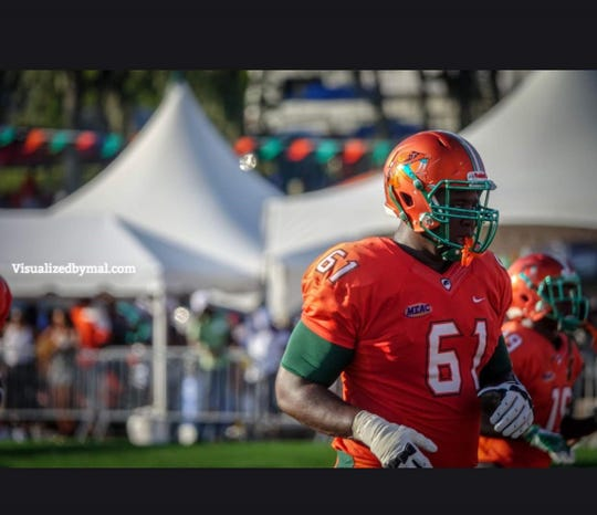 FAMU offensive lineman Loubens Polinice was a second-team All-MEAC player in 2018. He joined teammates Jibreel Hazly and Orlando McKinley in the FCS National Bowl.