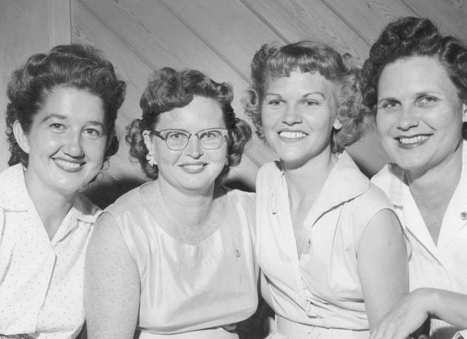 Four of the Jaycee-Ettes in 1955. From left, Adrienne Bartlett, Janie Elkins Smith, Mary Van Hees and Juanita Slawson Schreckengost.