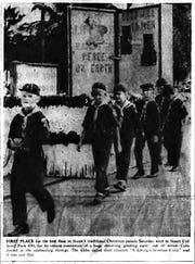 Dec. 7, 1967, Boy Scouts with winning float.