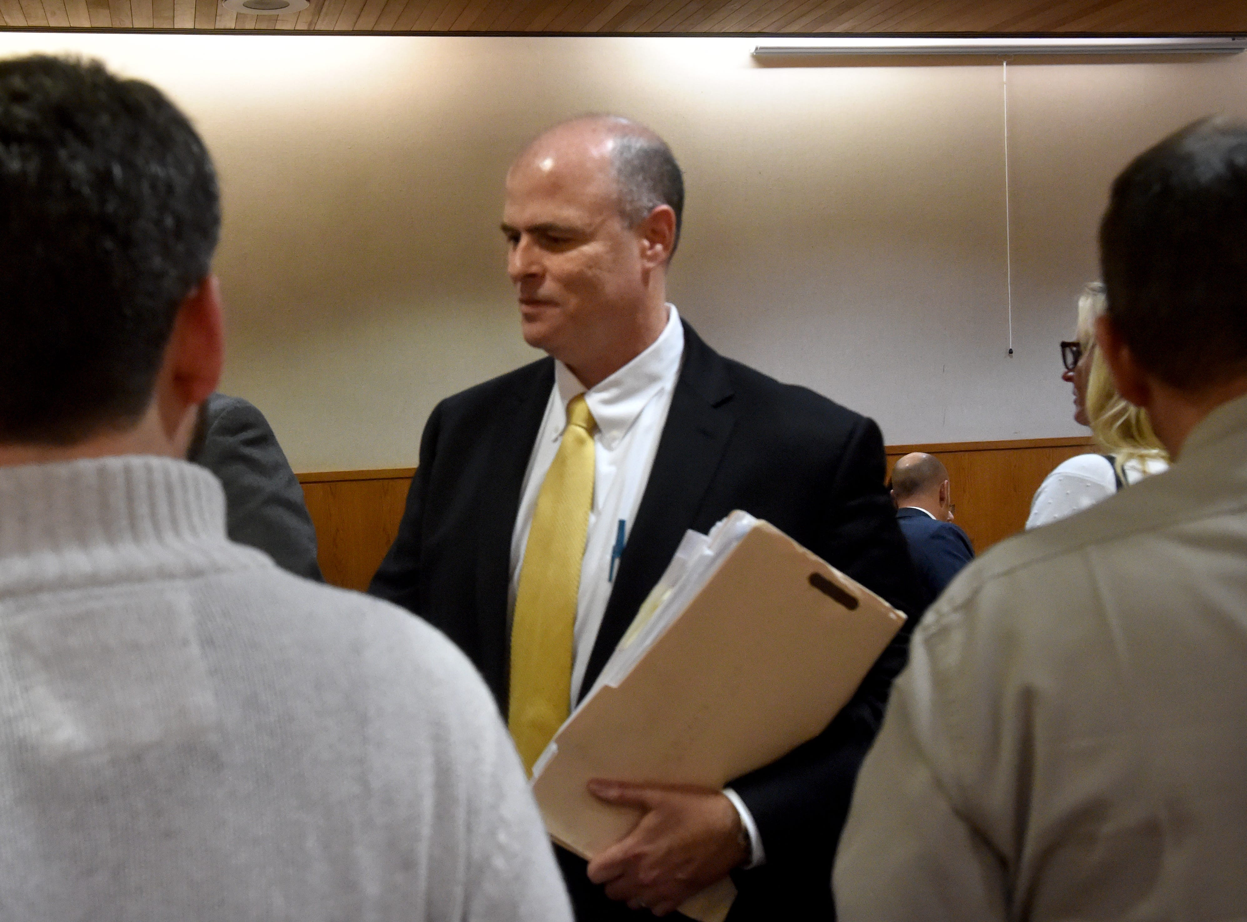 Senior Deputy District Attorney John Barrick receives congratulations after jurors found Mayra Chavez guilty of second-degree murder of her 3-year-old daughter Kimberly Lopez. Chavez was also found guilty of assault and torture charges.