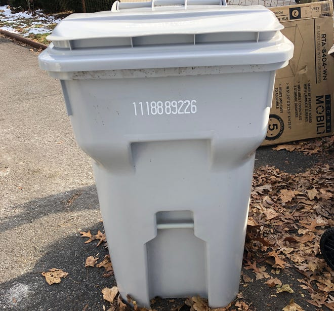 A 96-gallon trash container provided by the city of Vineland to residents.