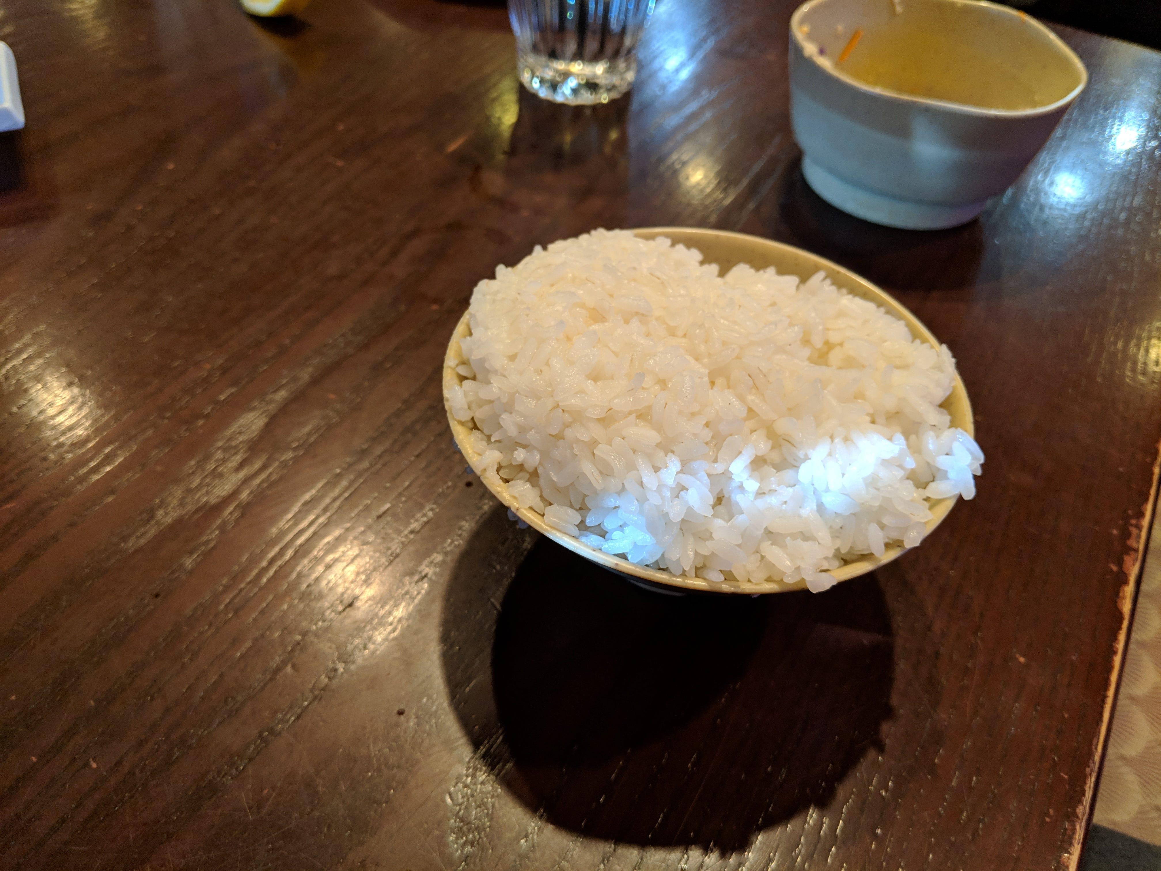Steamed rice at Samurai of Tokyo.