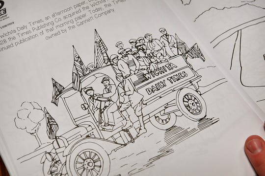 One of more than 20 pages detailing local history in the new Color Something Big coloring book created by Nicholas Schreiber.