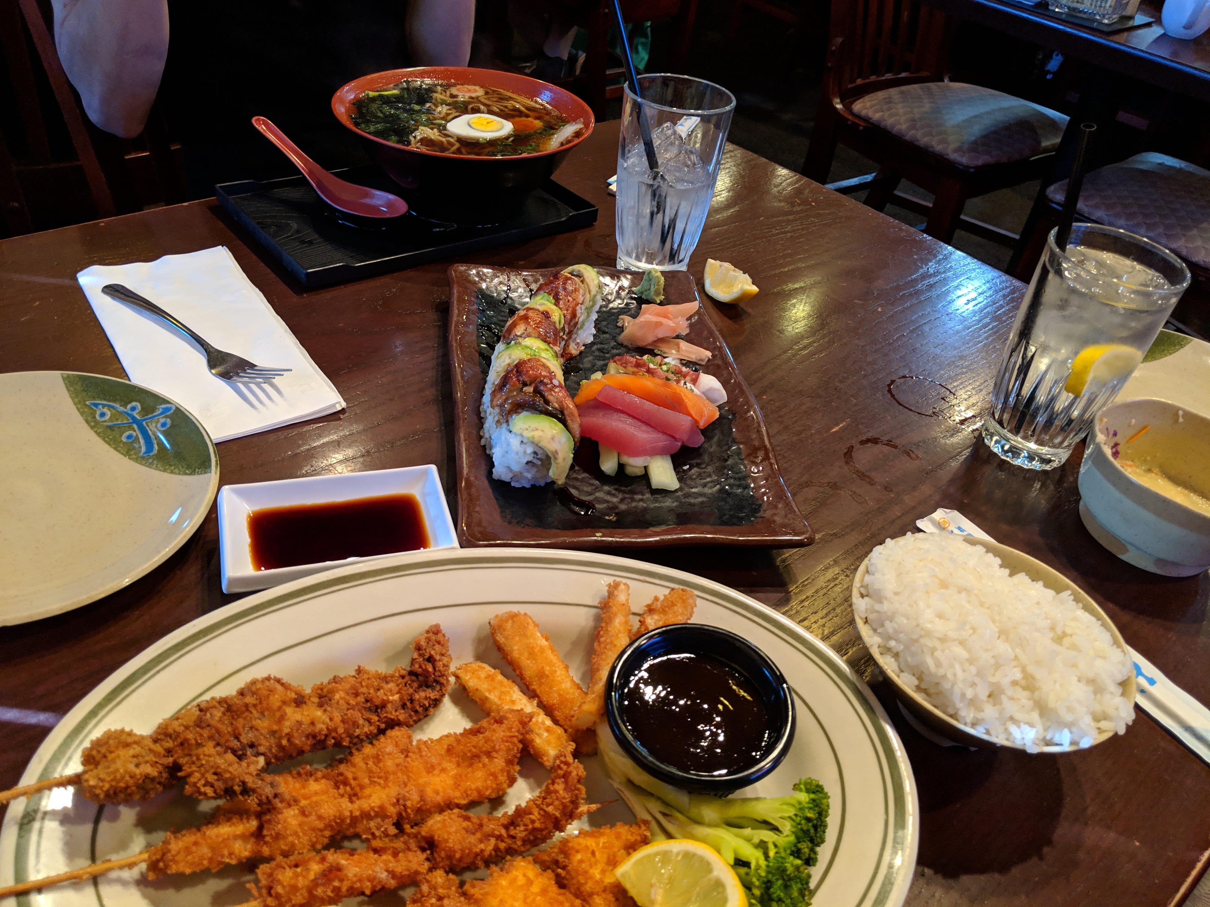 The Lunch Bunch's lunch of kushi katsu, ramen and sushi at Samurai of Tokyo.