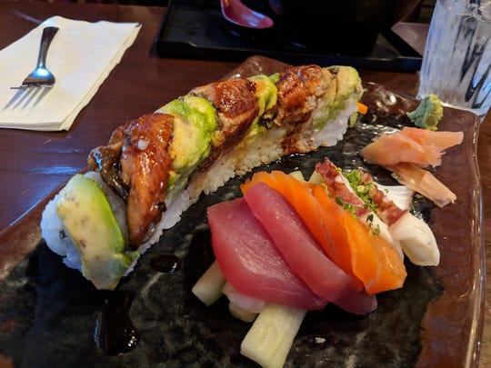 Sushi roll and sashimi at Samurai of Tokyo.