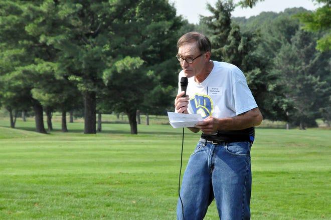 Jerome Krautkramer, of Marathon City, speaks as the Easter Seal Wisconsin annual Skip Ellenbecker Memorial Golf Outing in Marathon, which directly benefits the FARM Program that helped Krautkramer.