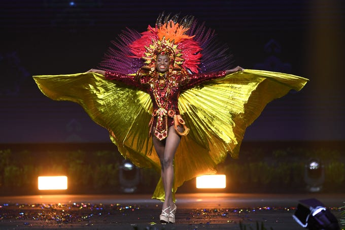 Samantha Colas, Miss Haiti 2018 walks on stage during the 2018 Miss Universe national costume presentation in Chonburi province on December 10, 2018. (Photo by Lillian SUWANRUMPHA / AFP)LILLIAN SUWANRUMPHA/AFP/Getty Images ORIG FILE ID: AFP_1BH7QE