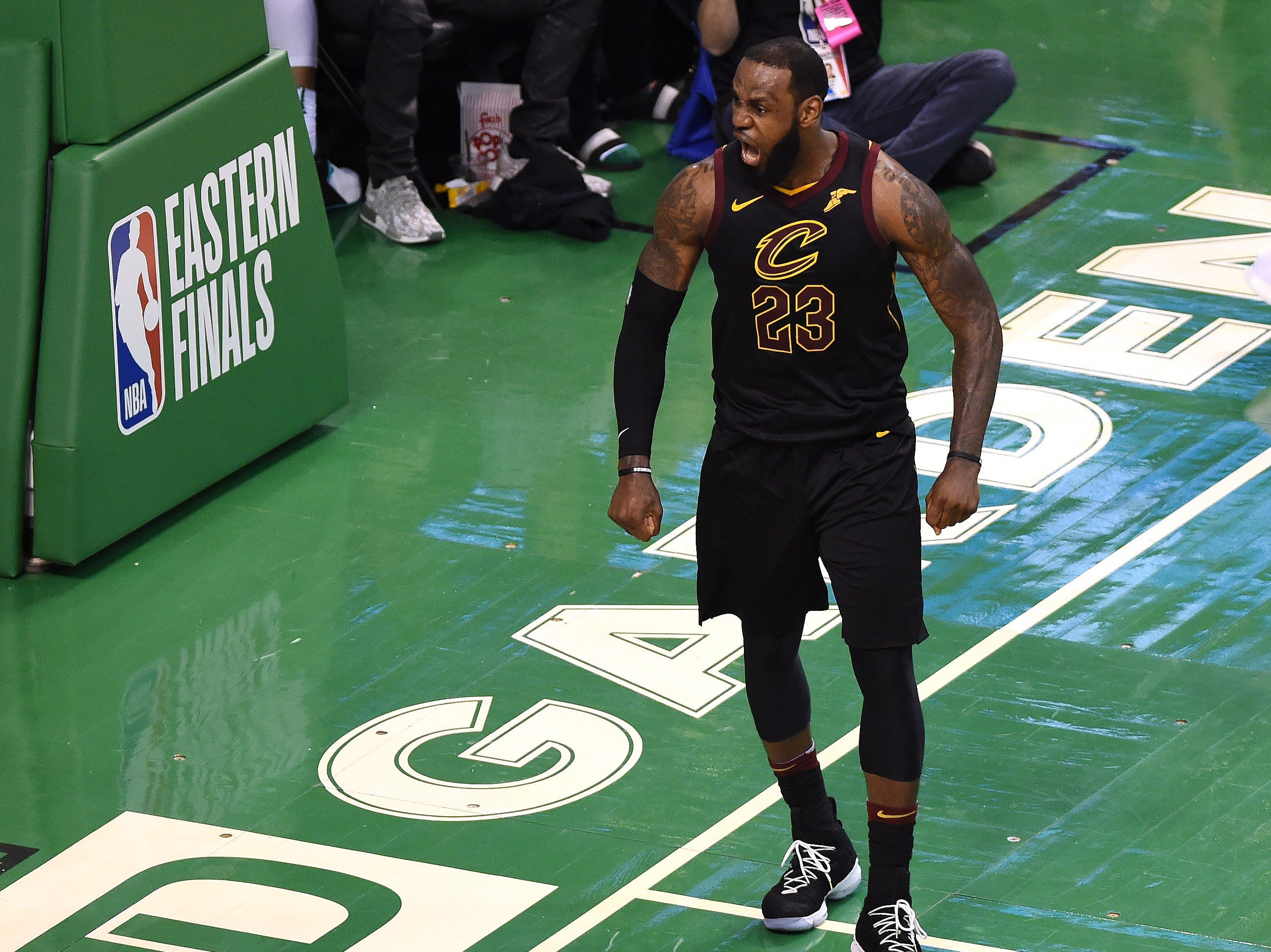 May 27: Cleveland Cavaliers forward LeBron James celebrates after making a basket during the second half in Game 7 of the Eastern conference finals against the Boston Celtics at TD Garden.