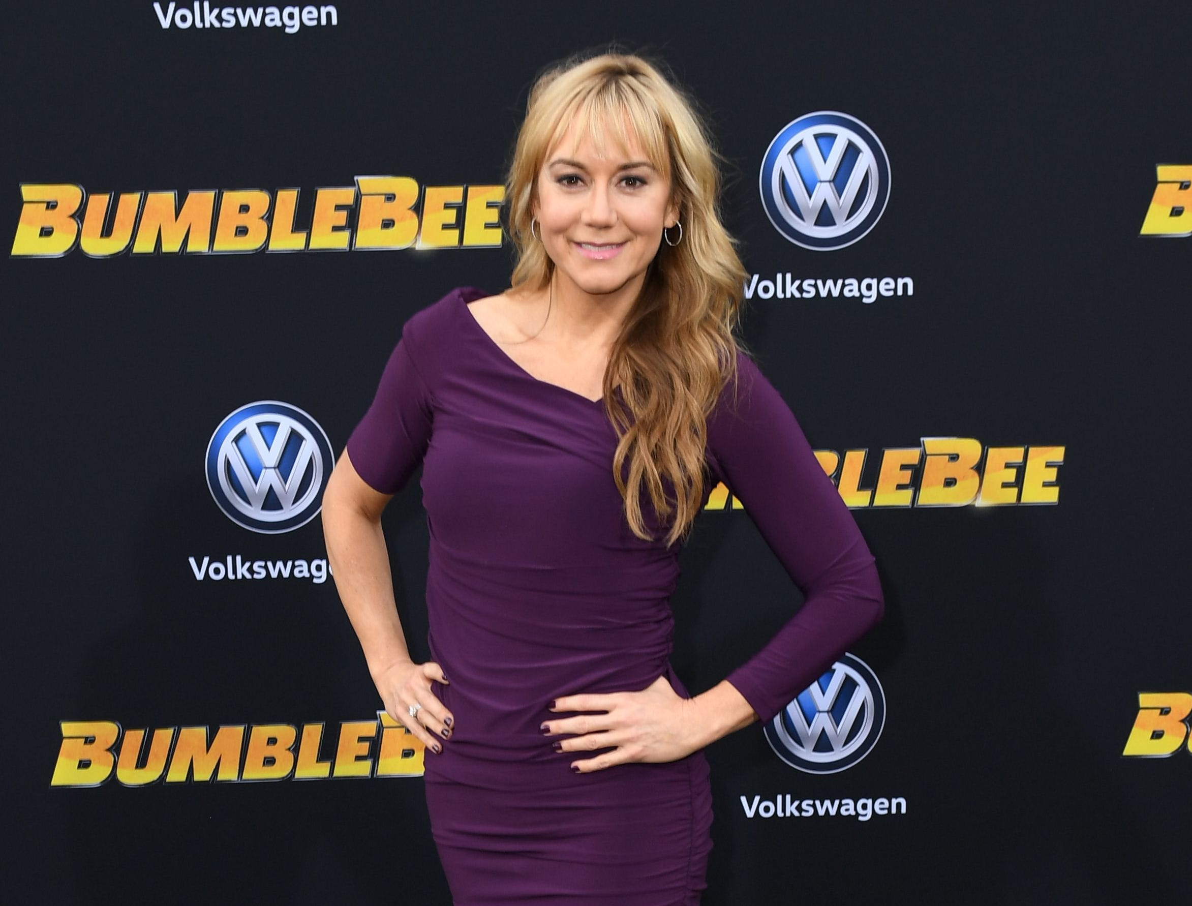 "US actress Megyn Price attends the global premiere of ""Bumblebee"" at the TCL Chinese theatre in Hollywood on December 9, 2018. (Photo by VALERIE MACON / AFP)VALERIE MACON/AFP/Getty Images ORG XMIT: Premiere ORIG FILE ID: AFP_1BH0K4"