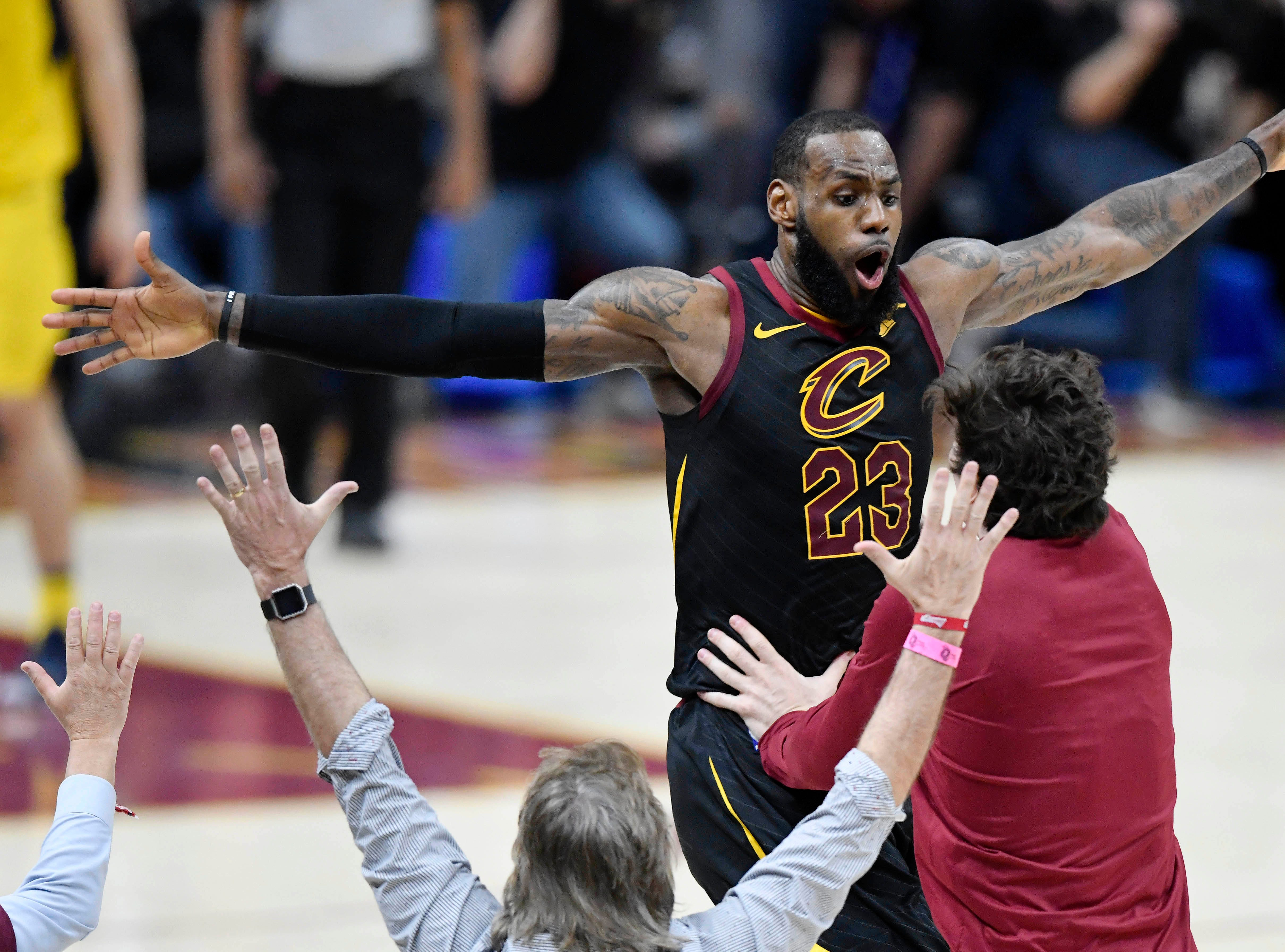 April 25: Cleveland Cavaliers forward LeBron James (23) celebrates his game-winning 3-pointer in Game 5 of a first-round series against the Indiana Pacers.