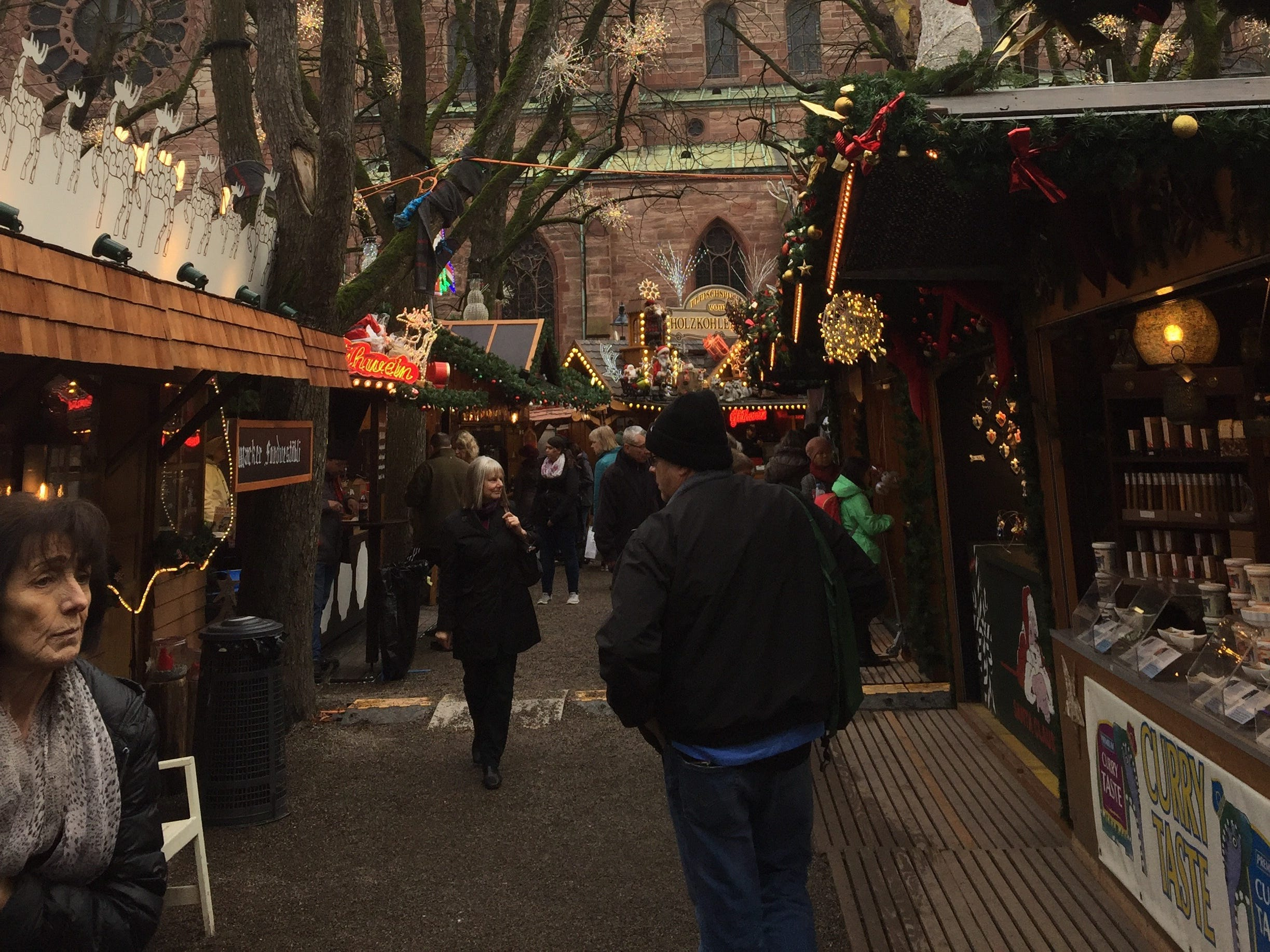 The Christmas market on Barfüsserplatz nestles under the church, named after the monks who founded it.