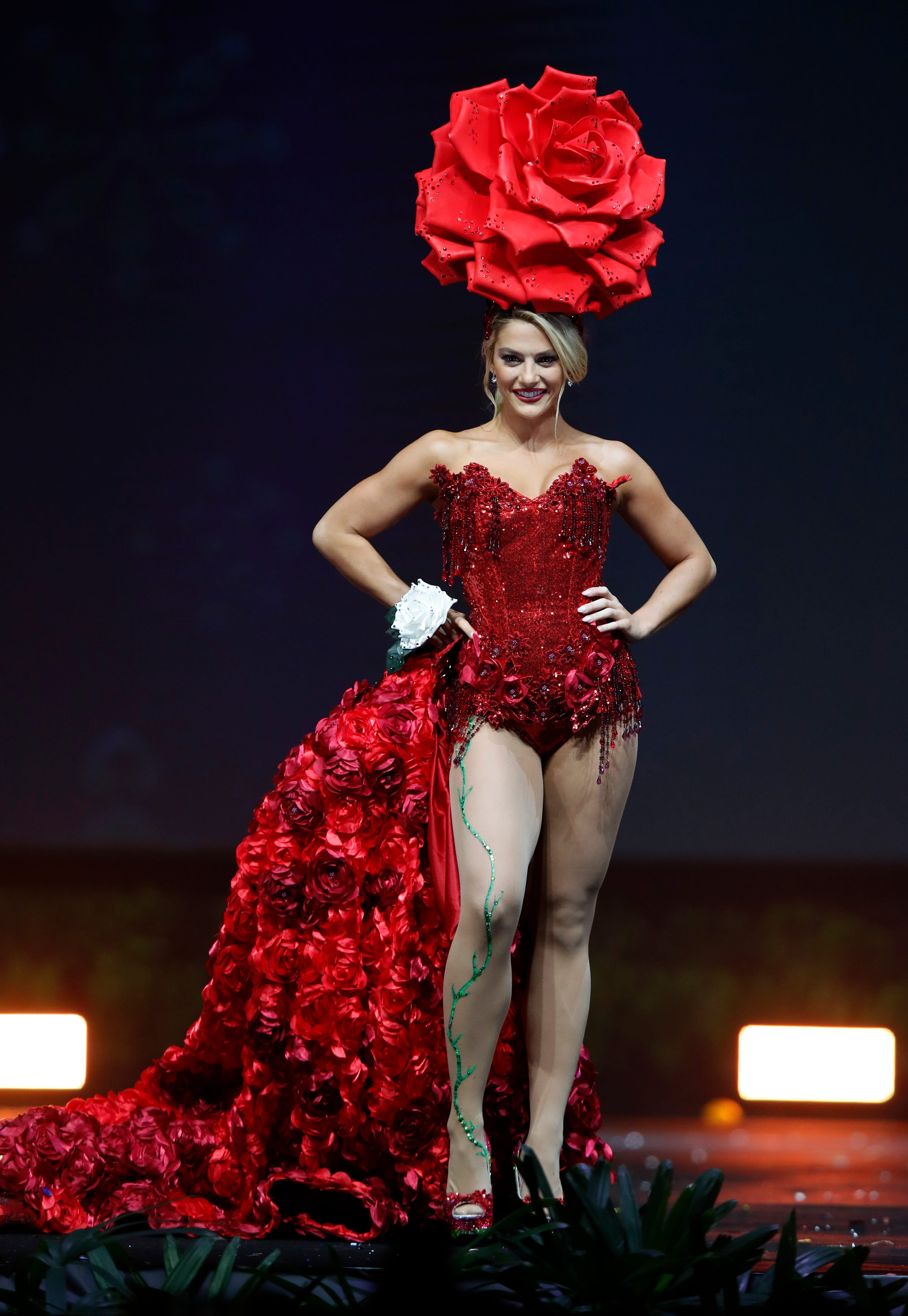 epa07222148 Miss USA Sarah Rose Summers poses in her national costume  during the Miss Universe 2018
