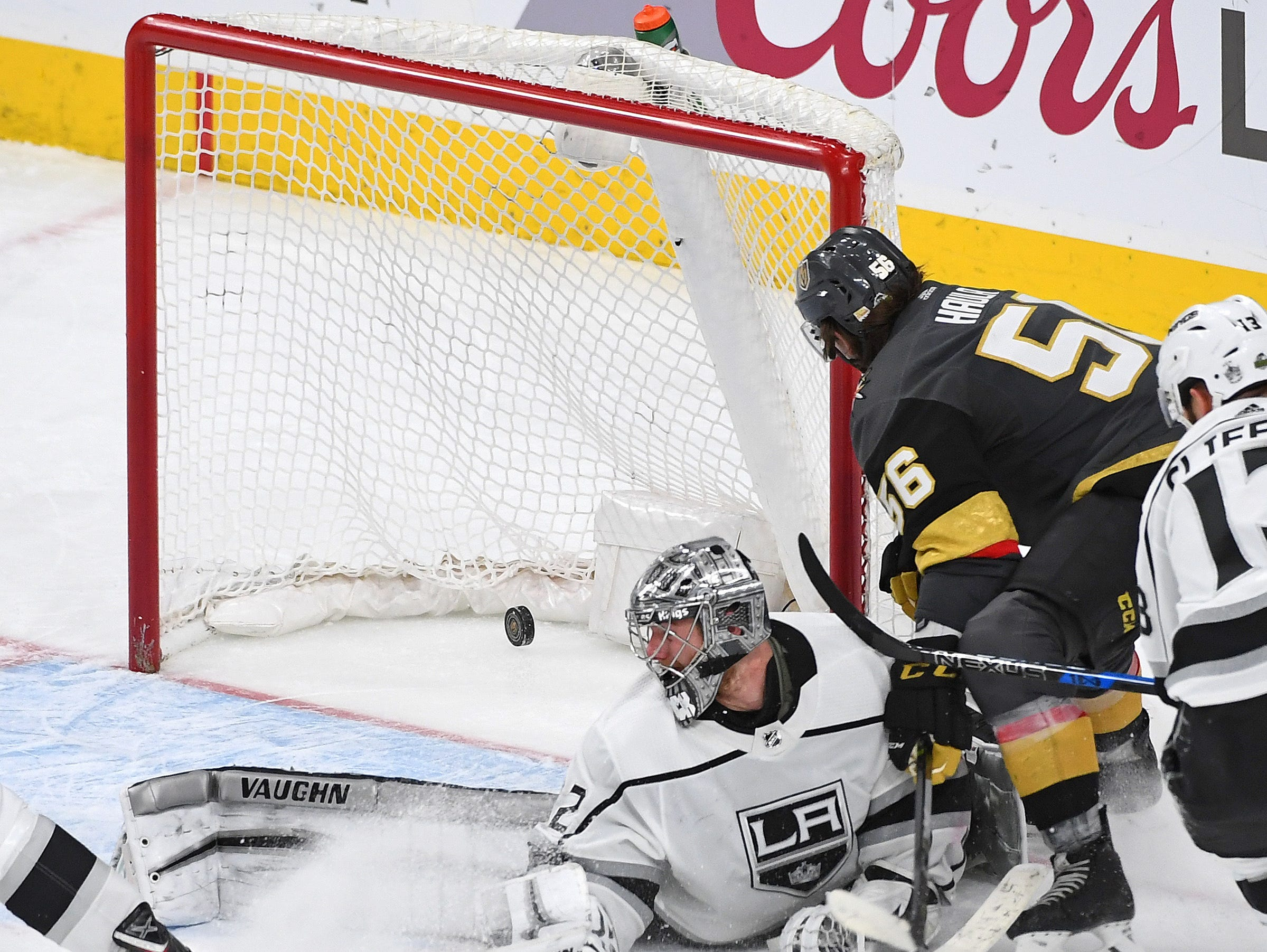 April 13: Vegas Golden Knights left wing Erik Haula (56) scores a double-overtime goal to beat the Los Angeles Kings in Game 2 of their first-round series.