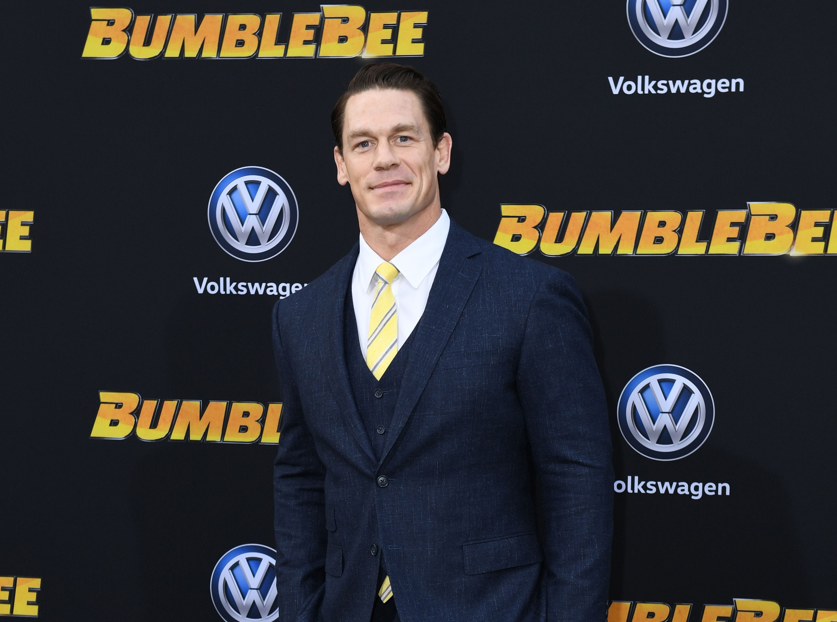 "US actor/wrestler John Cena attends the global premiere of ""Bumblebee"" at the TCL Chinese theatre in Hollywood on December 9, 2018. (Photo by VALERIE MACON / AFP)VALERIE MACON/AFP/Getty Images ORG XMIT: Premiere ORIG FILE ID: AFP_1BH0JT"