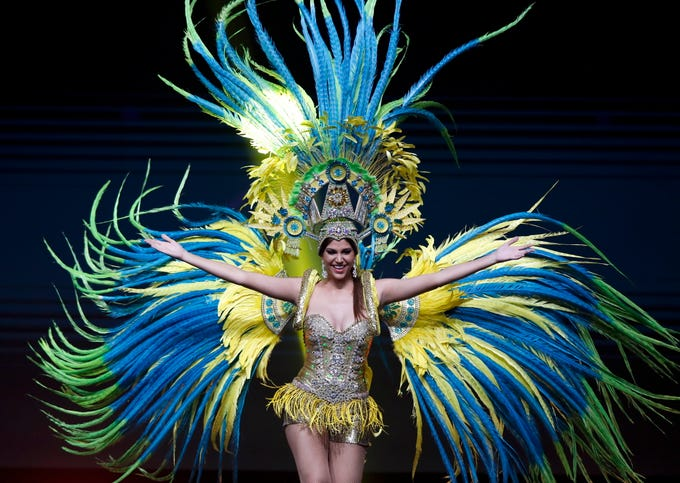 epa07221896 Miss Aruba Kimberly Julsing poses in her national costume during the Miss Universe 2018 national costume contest at Nongnooch International Convention and Exhibition Center in Pattaya, Chonburi province, Thailand, 10 December 2018. Women representing 94 nations participate in the 67th beauty pageant Miss Universe 2018 which will be held in Bangkok on 17 December 2018.  EPA-EFE/RUNGROJ YONGRIT   EDITORIAL USE ONLY ORG XMIT: RUN1343
