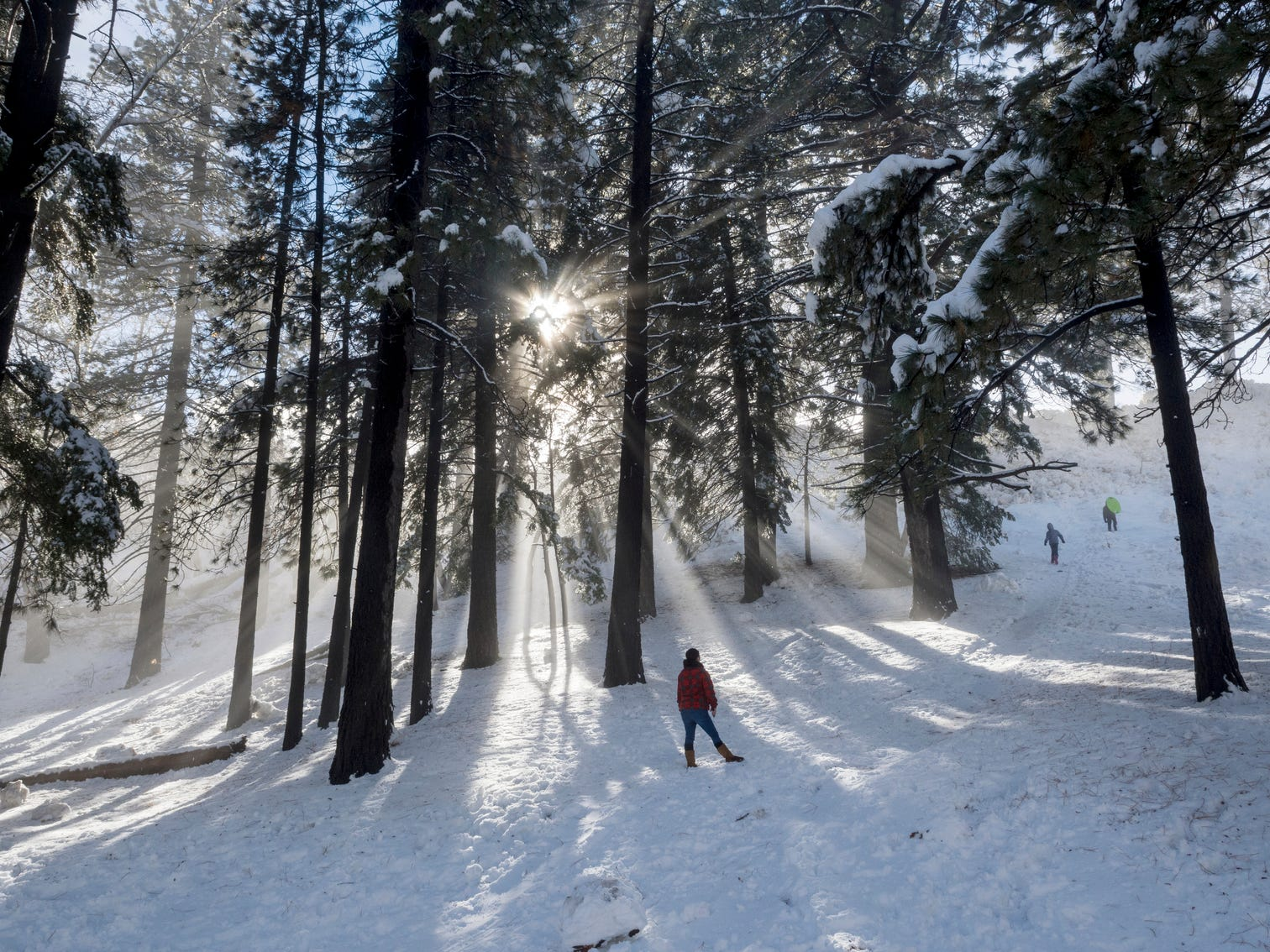 After an extended storm covered the area the sun comes out as visitors turned out to play in the new coat of snow covering the mountains on Dec. 7 in Wrightwood, Calif.