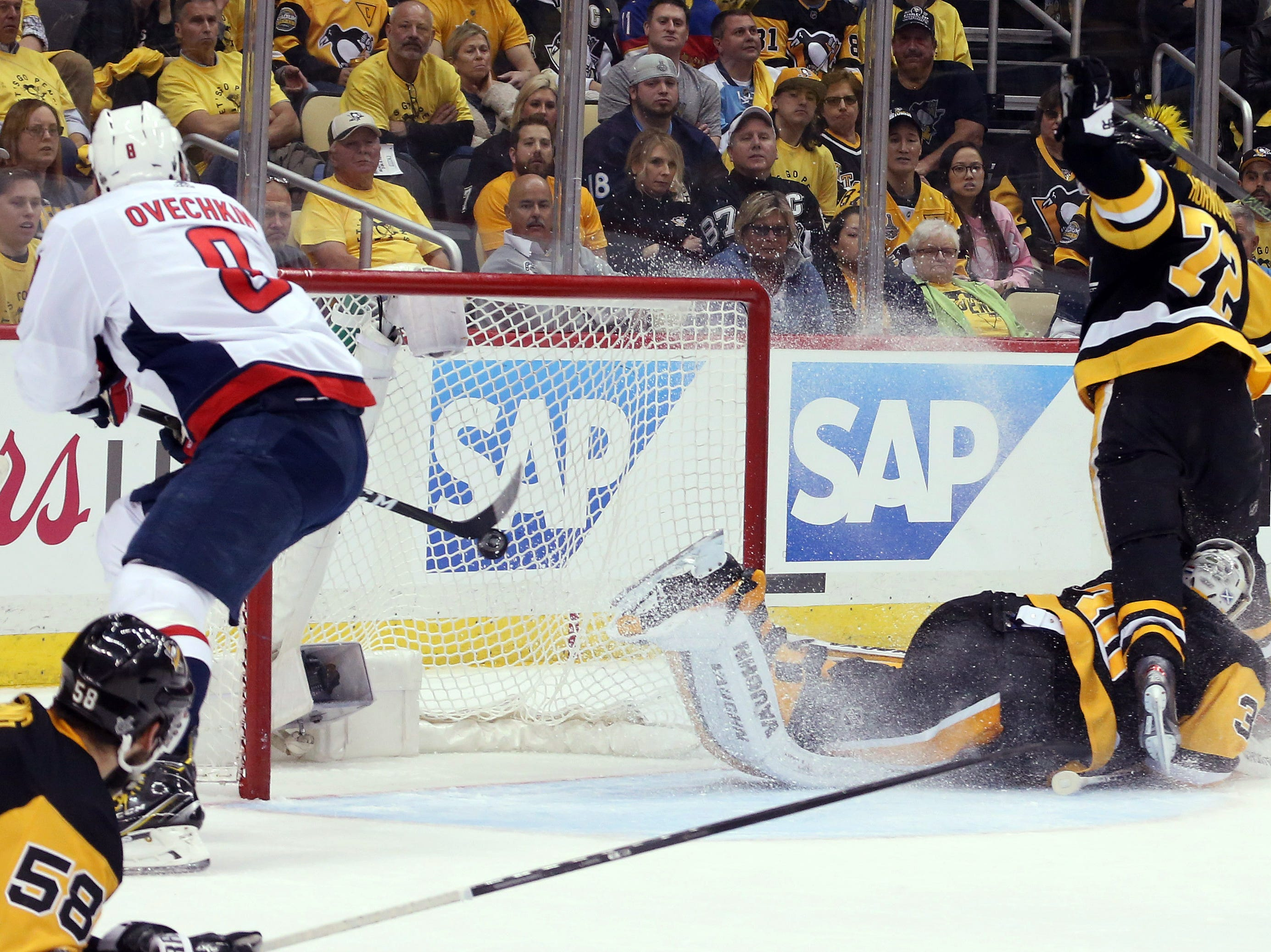 May 1: Washington Capitals left wing Alex Ovechkin (8) scores the game-winning goal during the third period of Game 3 of the second-round series against the Pittsburgh Penguins.