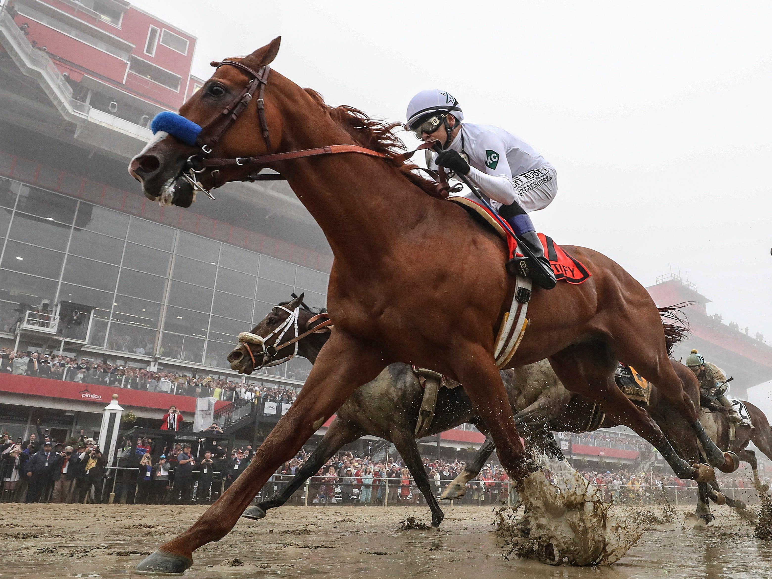 May 19: Mike Smith aboard Justify wins the 143rd Preakness at Pimlico Race Course.