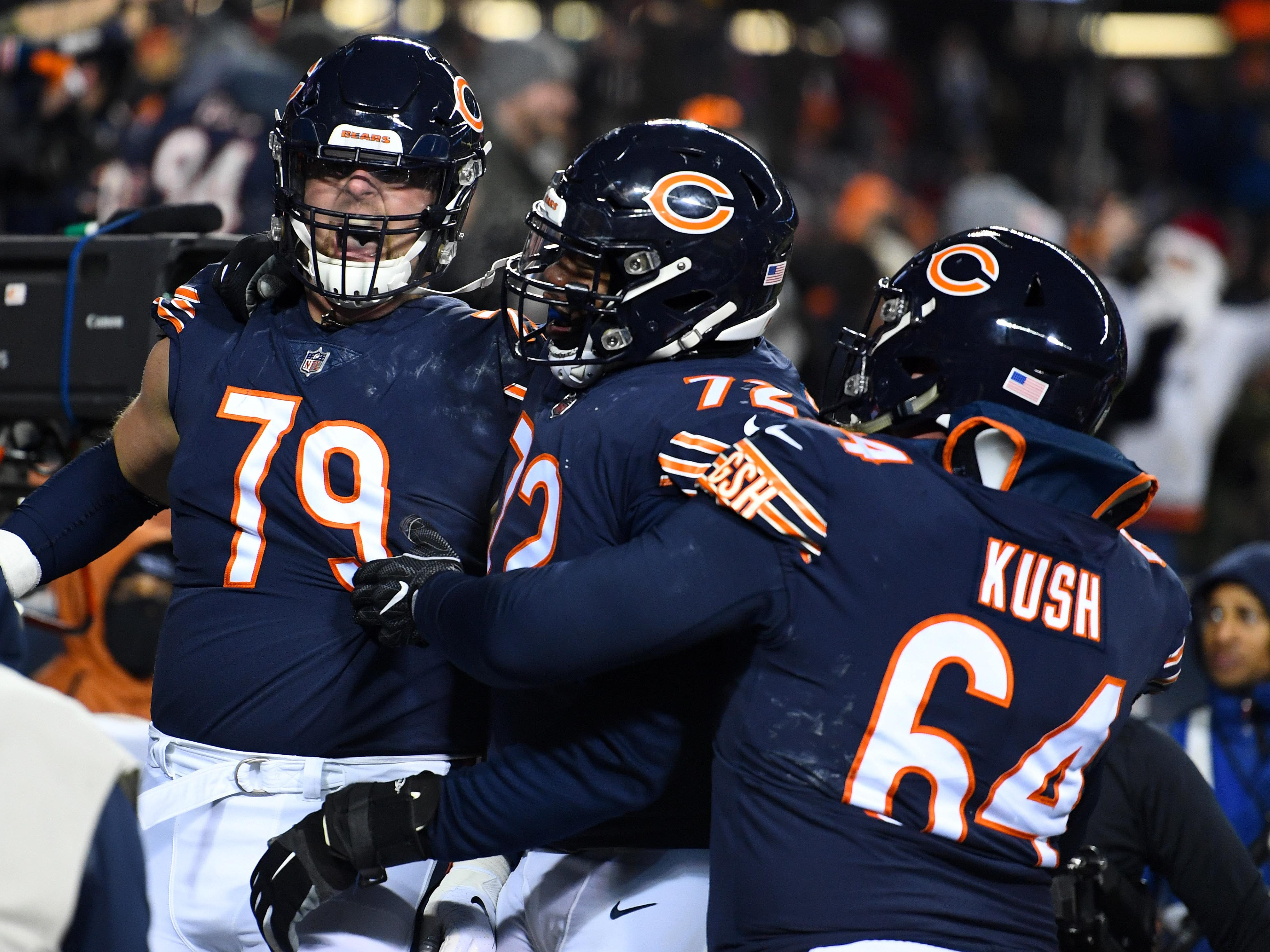 Chicago Bears offensive tackle Bradley Sowell (79) reacts after catching a touchdown against the Los Angeles Rams during the second half at Soldier Field.