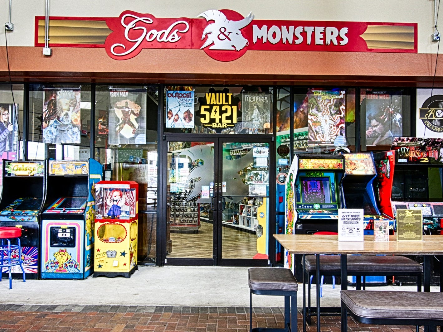 Gods & Monsters, a comics shop and toy store in Orlando, Florida, offers plenty of reading material along with T-shirts, figurines and giant displays. It also has an adults-only bar, Vault 5421.