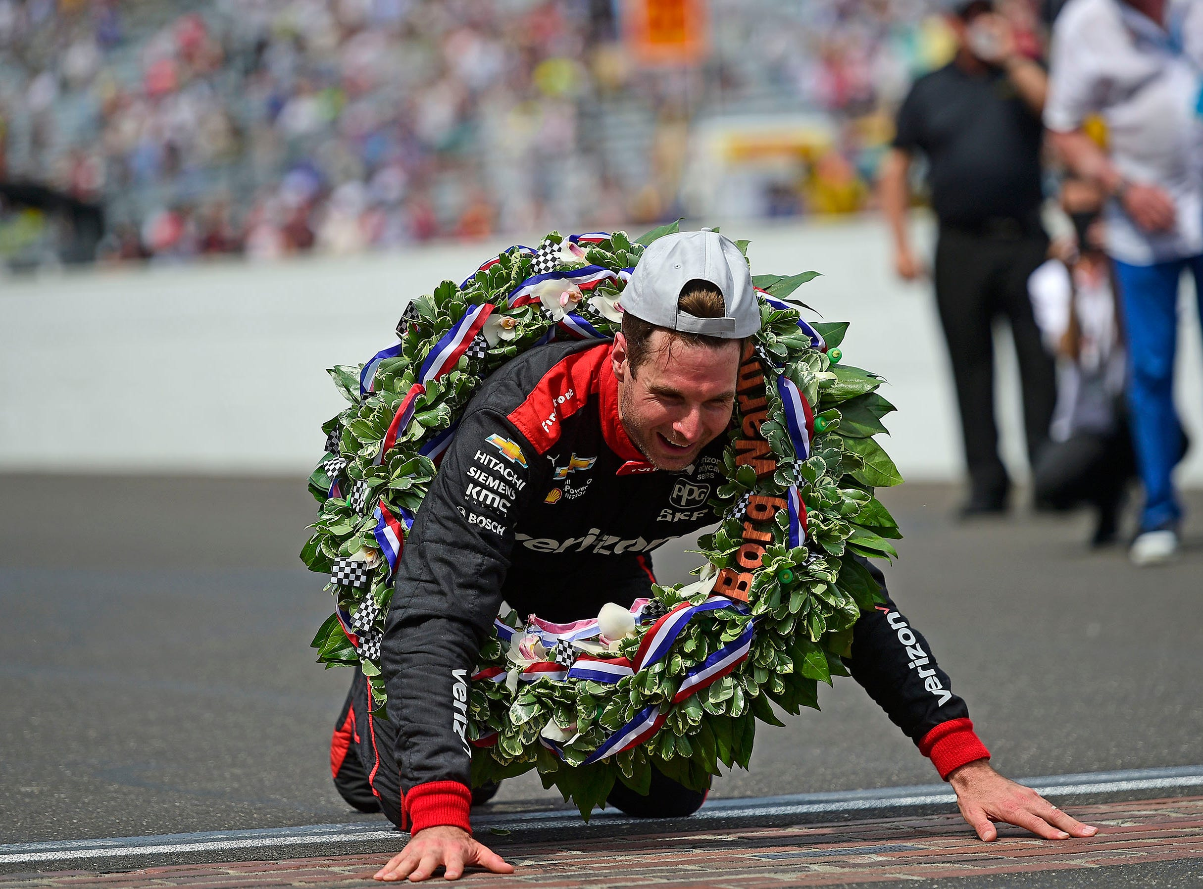 May 27: Will Power celebrates on the bricks after winning the 102nd Indianapolis 500 at Indianapolis Motor Speedway.