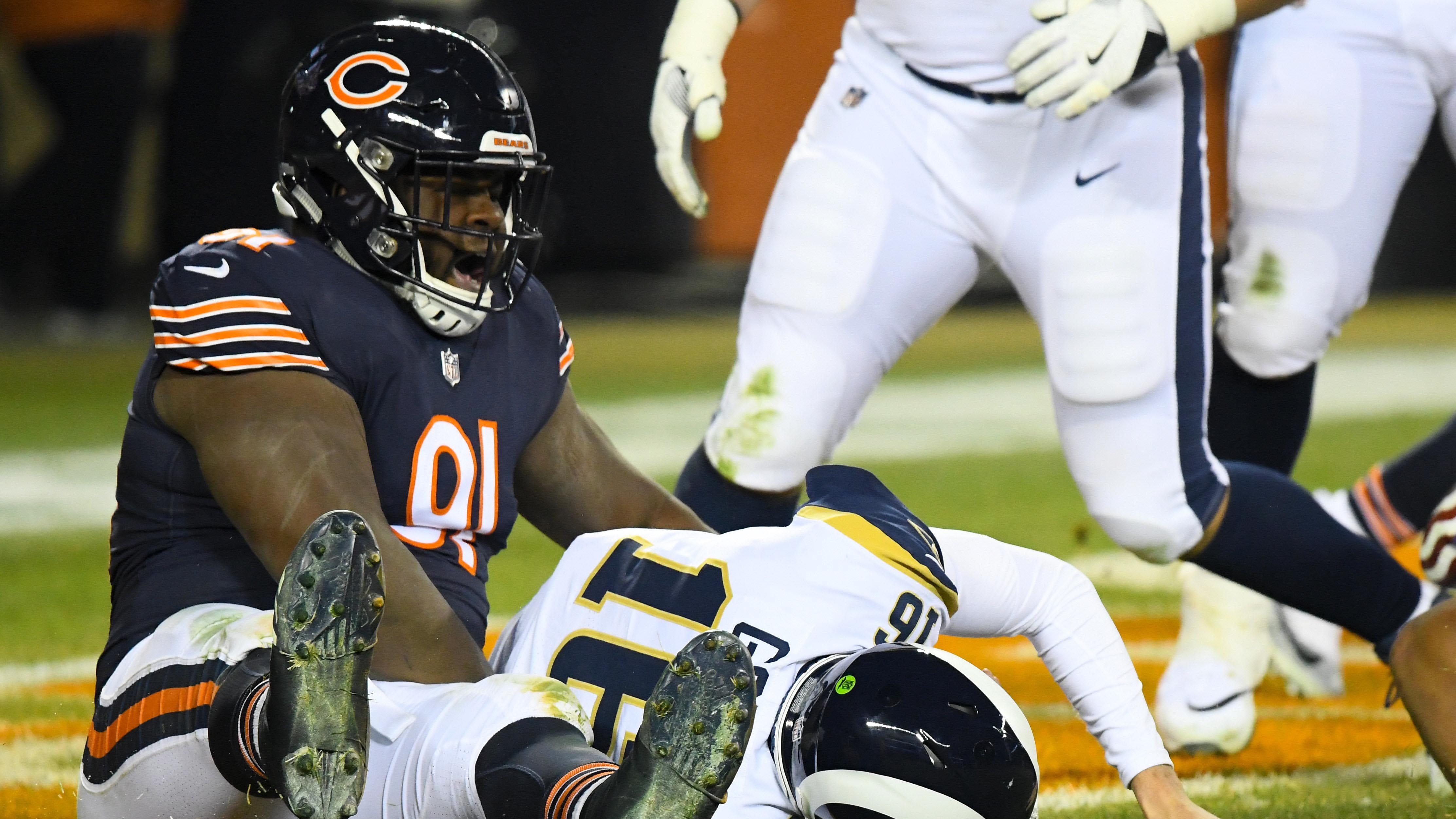 Chicago Bears nose tackle Eddie Goldman (91) sacks Los Angeles Rams quarterback Jared Goff (16) for a safety during the second half at Soldier Field.