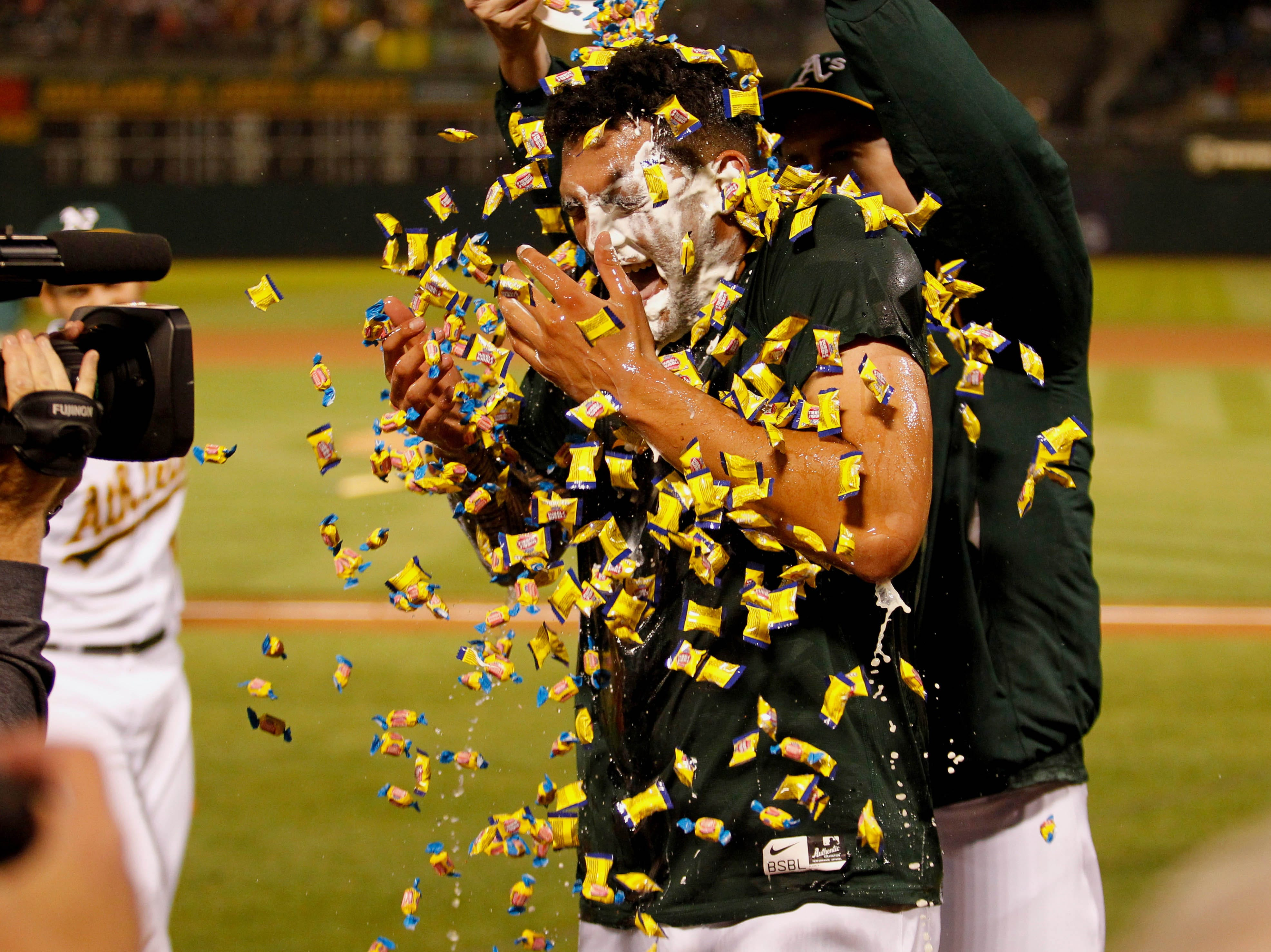 April 21: Oakland Athletics pitcher Sean Manaea celebrates with teammates after throwing a no-hitter against the Boston Red Sox at the Oakland Coliseum.