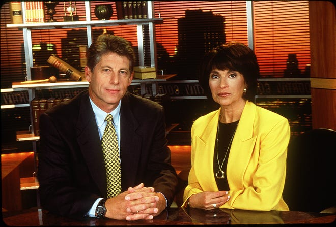 Court TV anchors Rikki Klieman, right, and Detective Mark Furhman, left, on the set of the special Crime Stories. The Court TV network is returning to television, after dying in 2007.