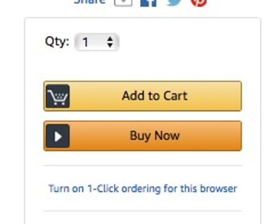 The 1-Click button, just below the yellow Add to Cart button, means you don't get a chance to review your settings before you buy.