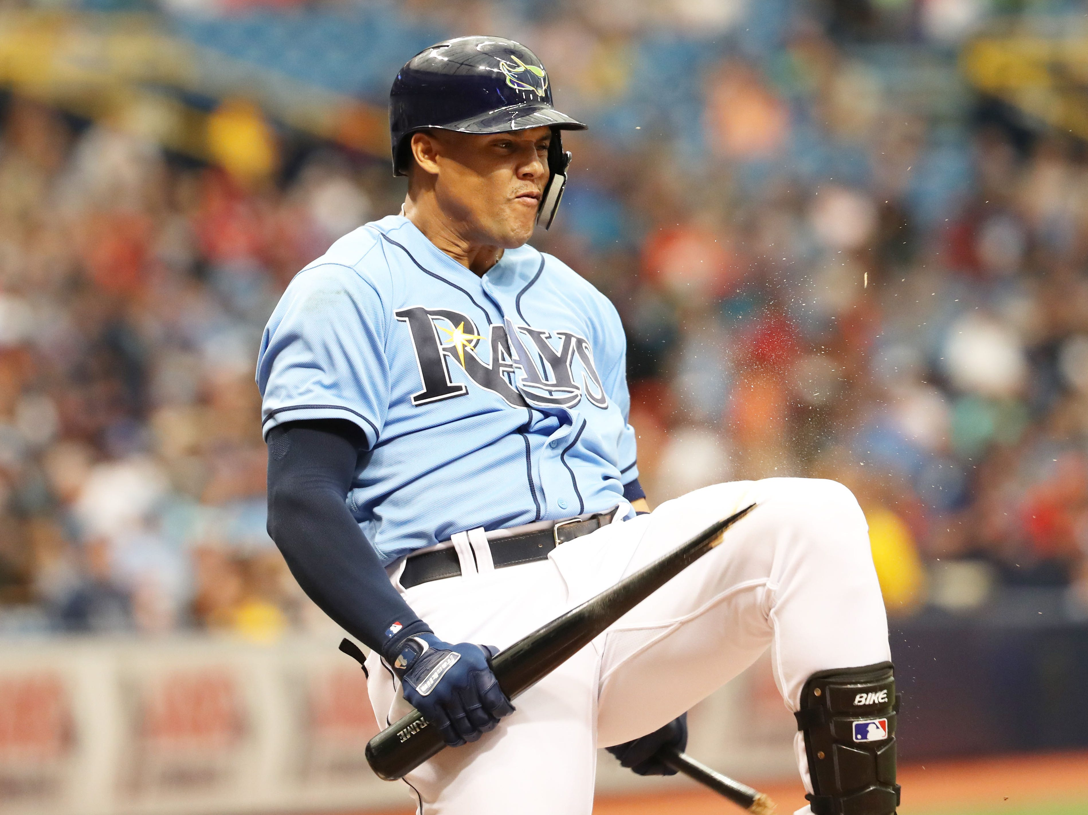 April 22: Tampa Bay Rays right fielder Carlos Gomez (27) breaks his bat over his knee after striking out during the fifth inning against the Minnesota Twins at Tropicana Field.