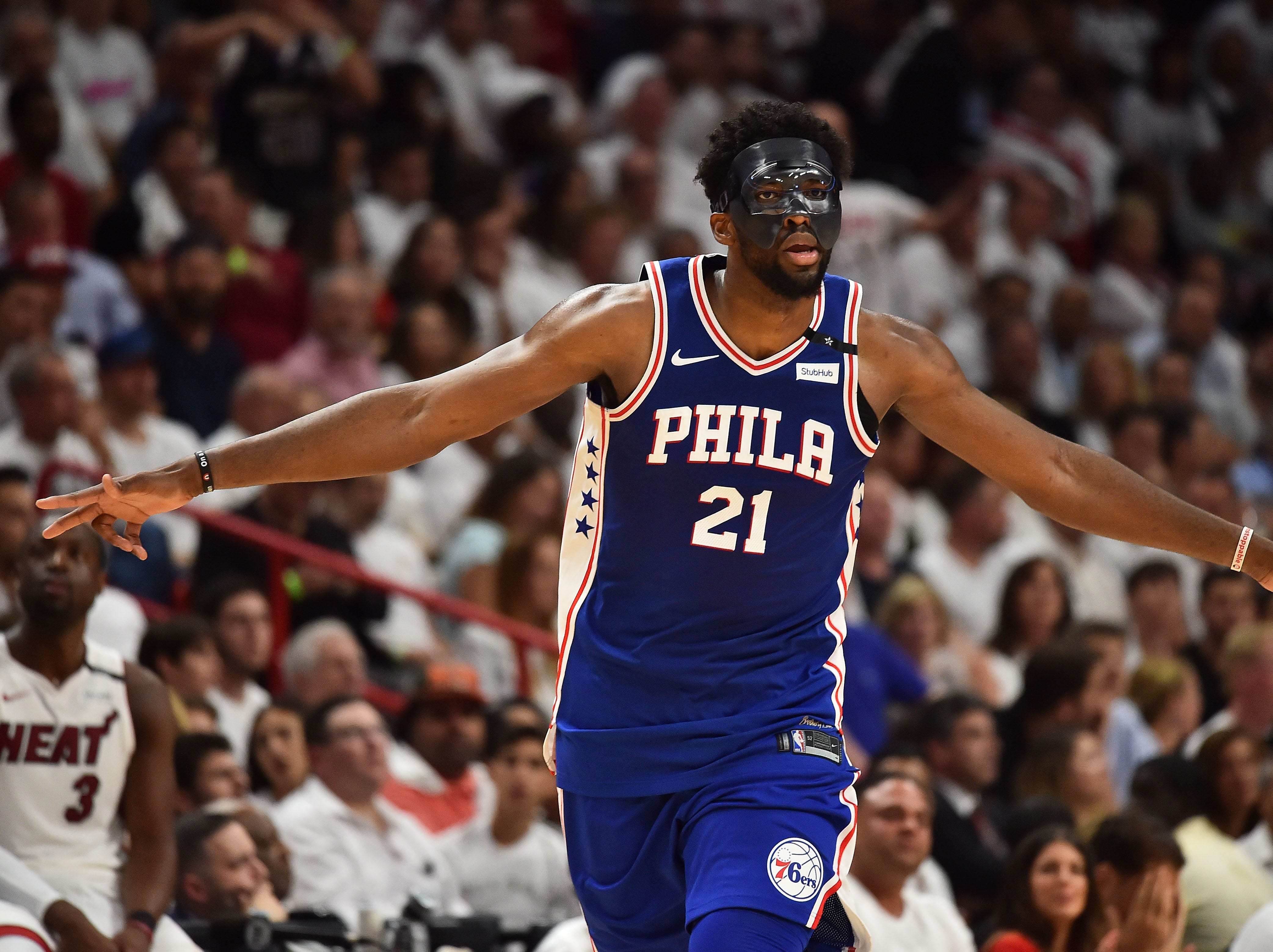 April 19: Philadelphia 76ers center Joel Embiid celebrates after making a 3-pointer during the second half of a first-round playoff game against the Miami Heat.