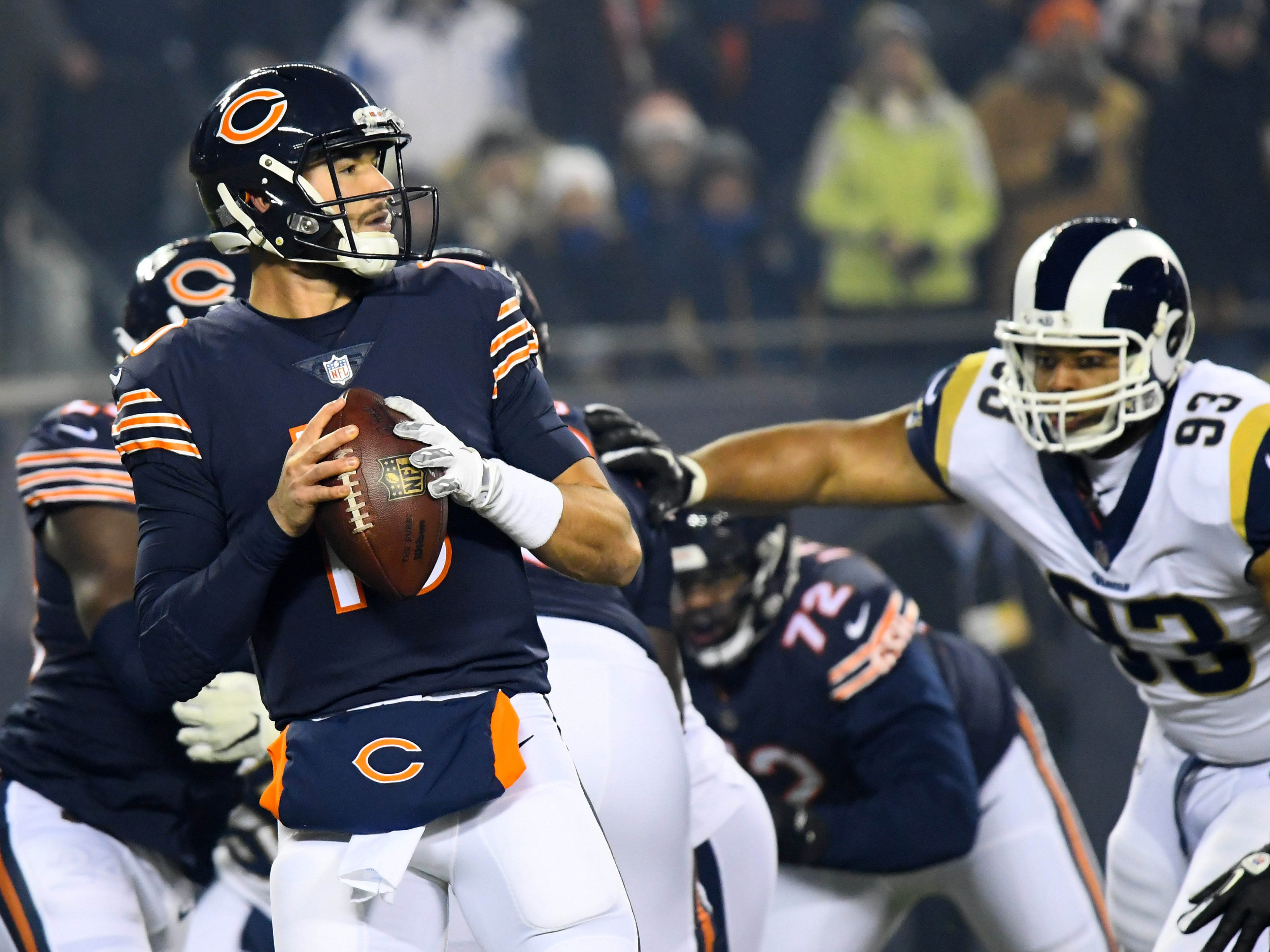 Chicago Bears quarterback Mitchell Trubisky drops back to pass against the Los Angeles Rams during the first quarter at Soldier Field.