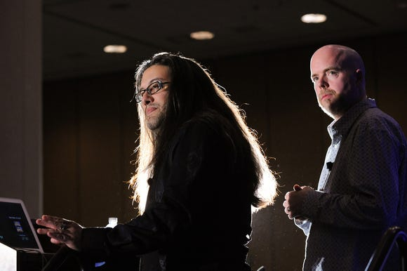 'Doom' designers John Romero, left, and Tom Hall at the Game Developers Conference in March 2011 in San Francisco.