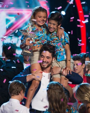 """Dancing with the Stars: Juniors"" winners, Sky Brown and JT Church, with their mentor Alan Bersten."