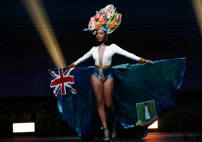 epa07221909 Miss British Virgin Islands Ayana Phillips poses in her national costume during the Miss Universe 2018 national costume contest at Nongnooch International Convention and Exhibition Center in Pattaya, Chonburi province, Thailand, 10 December 2018. Women representing 94 nations participate in the 67th beauty pageant Miss Universe 2018 which will be held in Bangkok on 17 December 2018.  EPA-EFE/RUNGROJ YONGRIT   EDITORIAL USE ONLY ORG XMIT: RUN1343