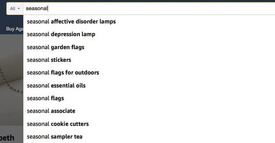 Multiple search terms that appear when looking for a lamp that emits full spectrum light to help fight Seasonal Affective Disorder on Amazon. Terms such as winter and light also worked.