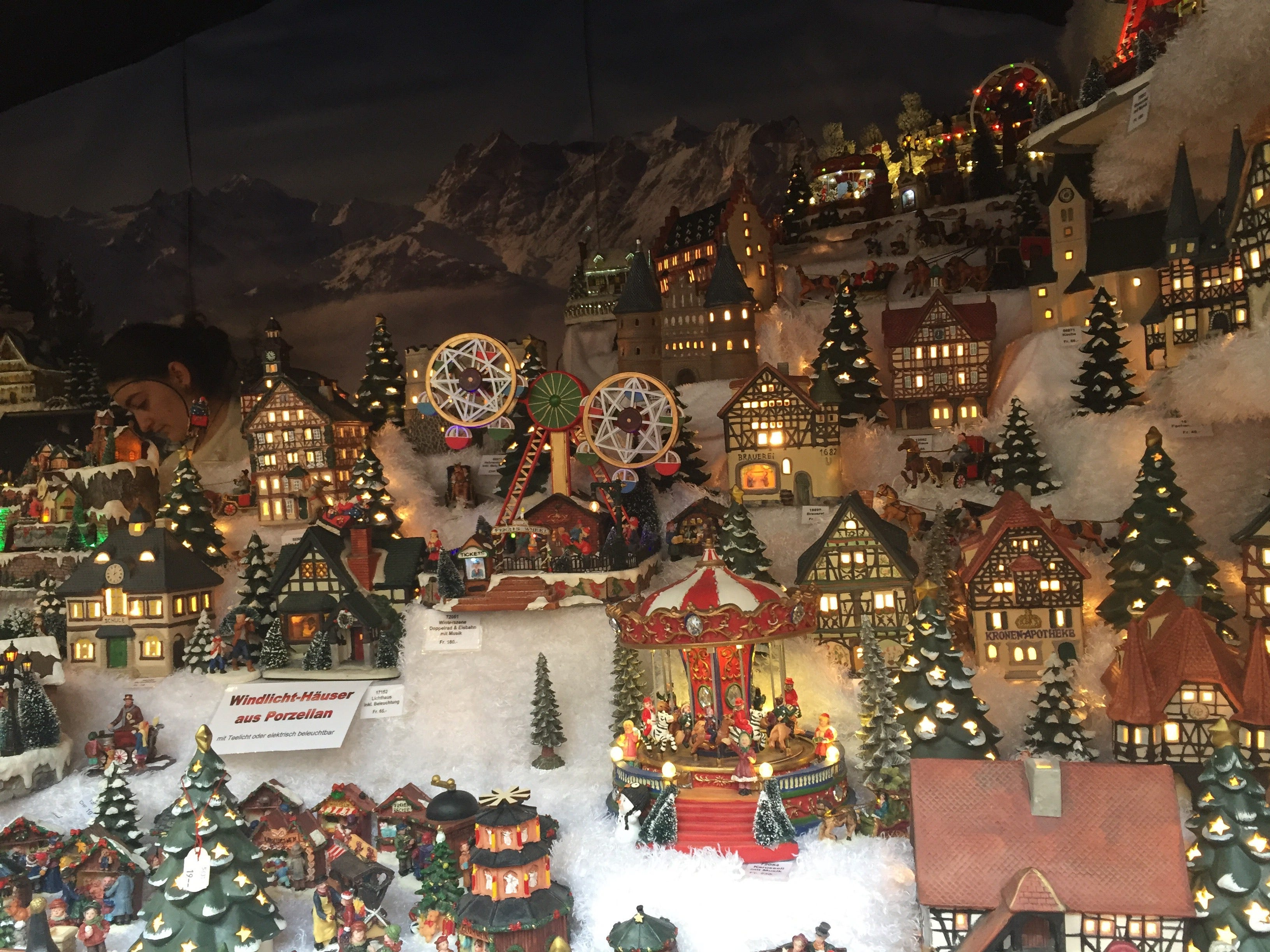 This Christmas village displayed at one of the stands is made entirely from porcelain.