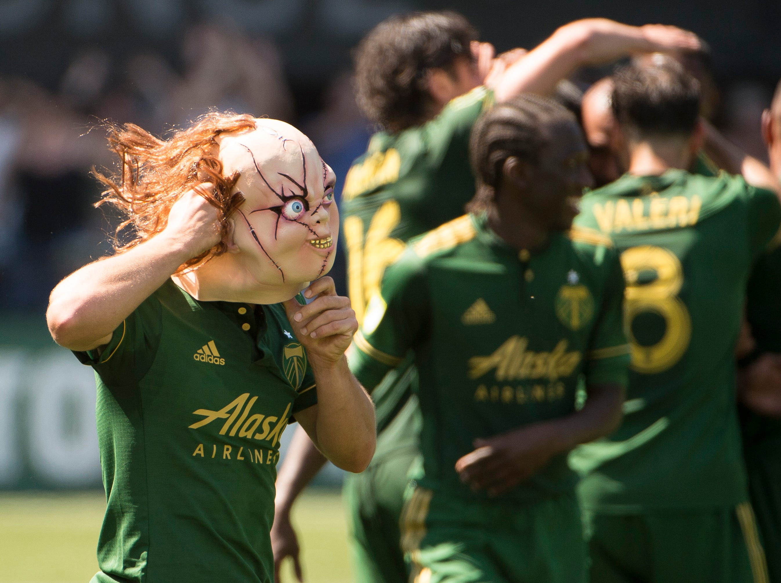 May 13: Portland Timbers midfielder Sebastian Blanco (10) puts on a Chucky mask after scoring a goal in the second half against the Seattle Sounders at Providence Park.