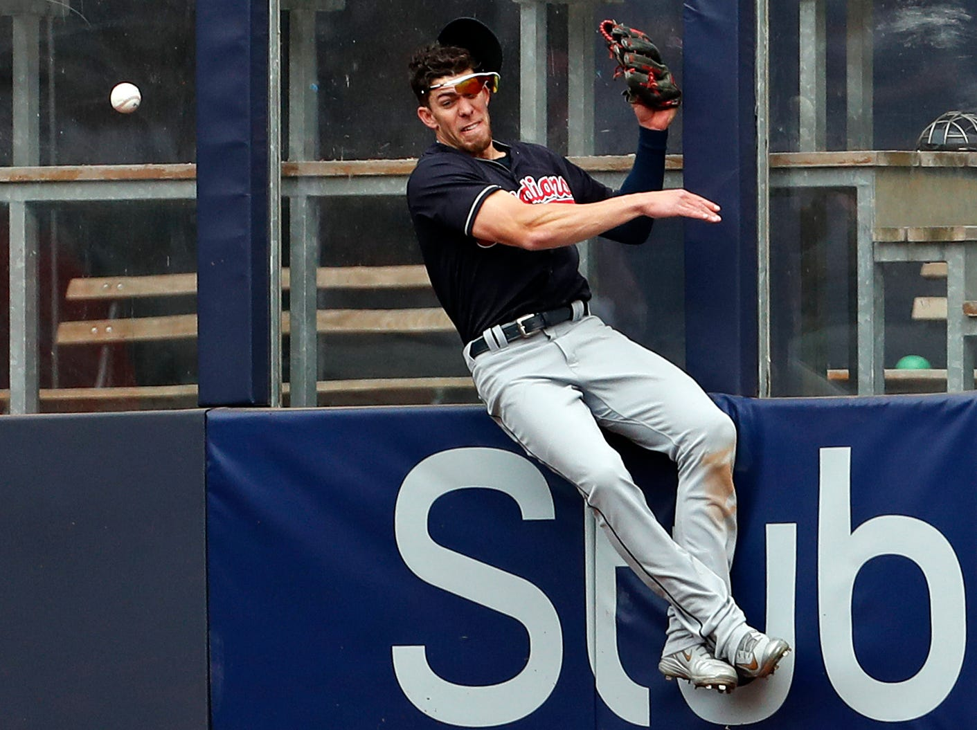May 5: Cleveland Indians center fielder Bradley Zimmer collides with the wall while attempting to make a catch against the New York Yankees.
