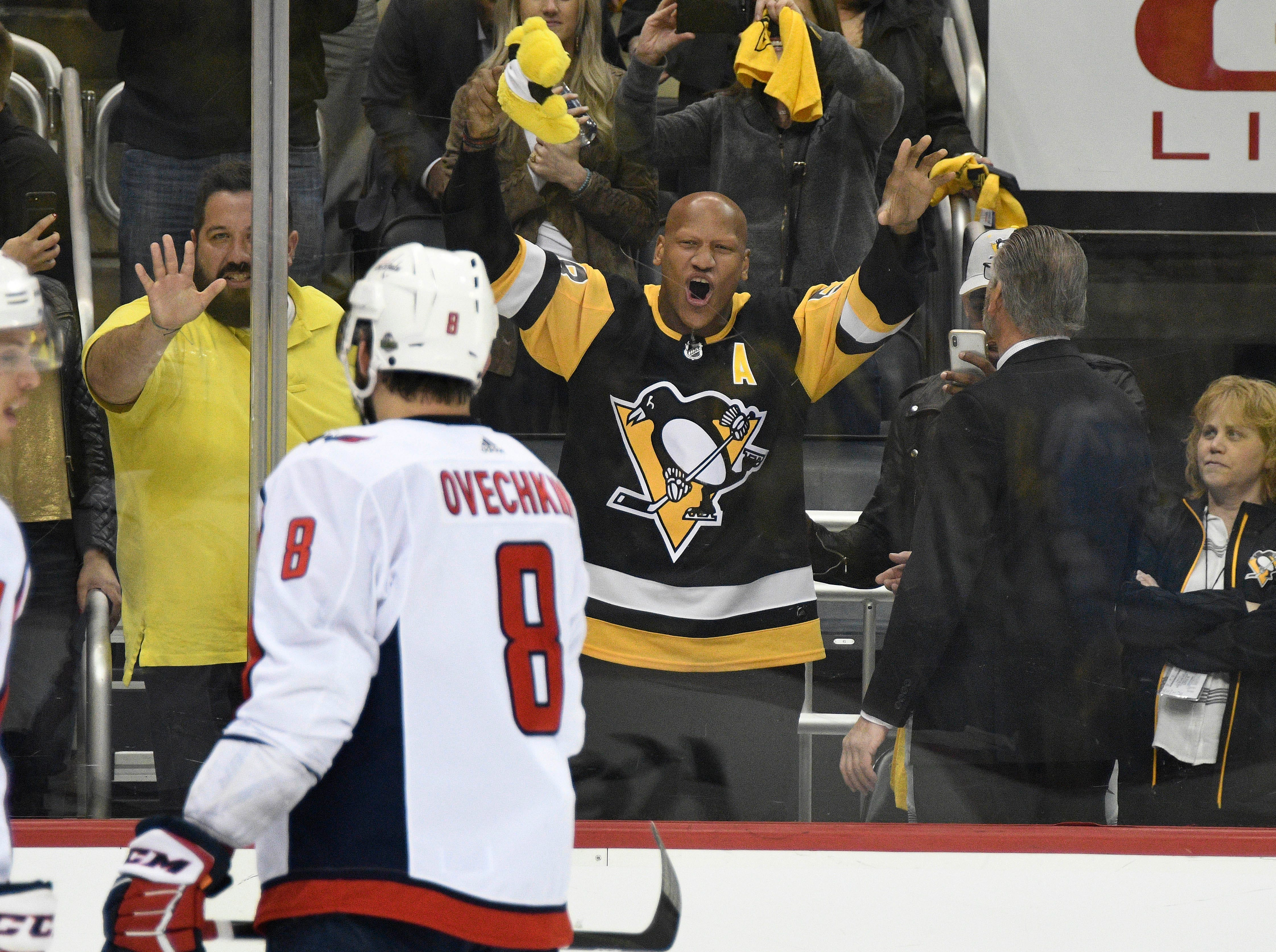 May 3: The Pittsburgh Steelers' Ryan Shazier celebrates after the Penguins scored an empty-net goal to seal a win over the Washington Capitals in Game 4 of their second-round series.
