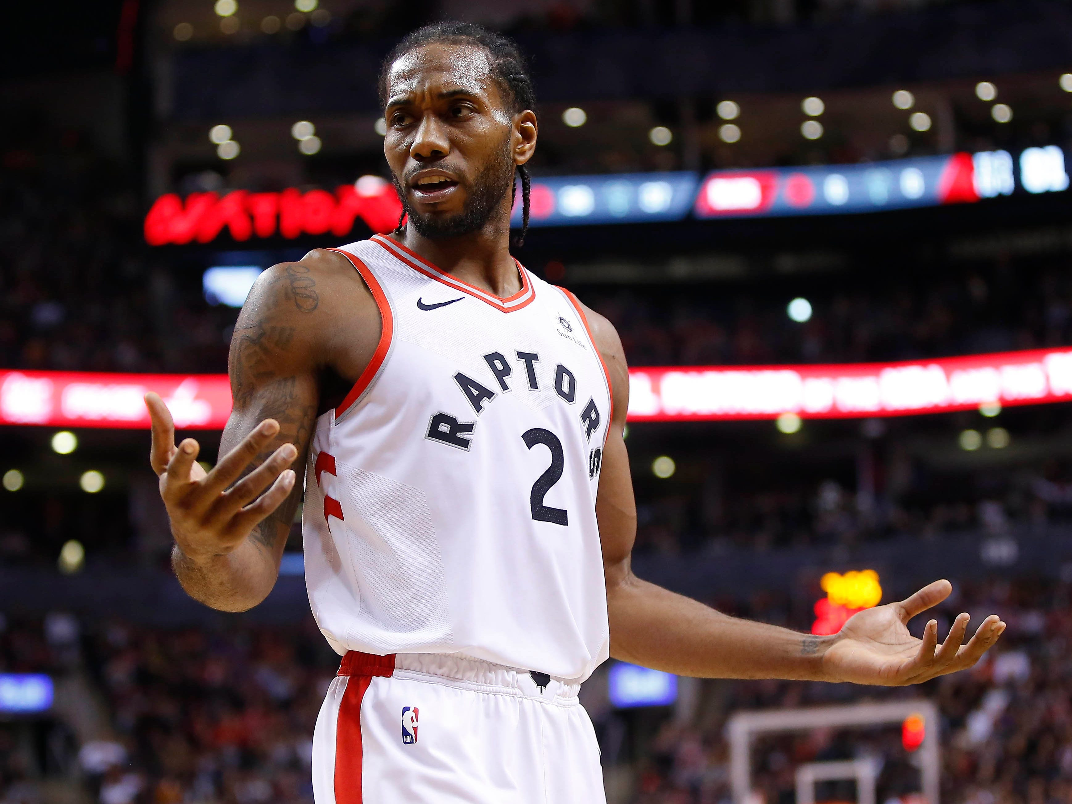 Dec. 9: Raptors forward Kawhi Leonard  can't believe the call during the second half against the Bucks in Toronto.