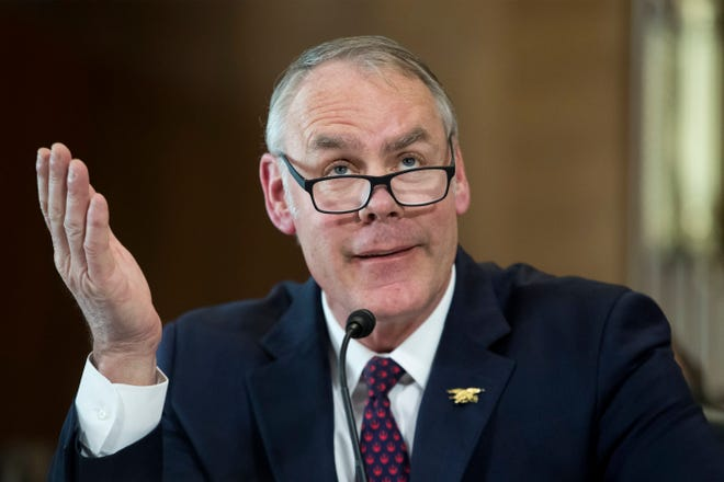 Interior Secretary Ryan Zinke testifies on Capitol Hill on March 13, 2018.