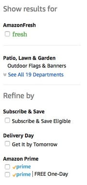 Amazon allows customers to search only for Prime-eligible items by clicking a box on the left-hand side of the search screen.